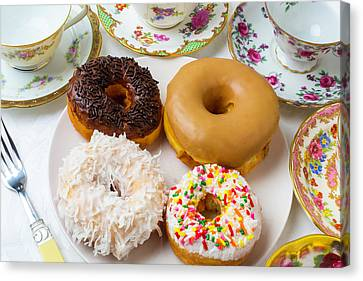 Donuts And Tea Cups Canvas Print by Garry Gay