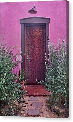 Door And Mailbox - Barrio Historico - Tucson Canvas Print by Nikolyn McDonald