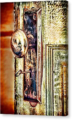 Door Knob With Key Canvas Print by HD Connelly