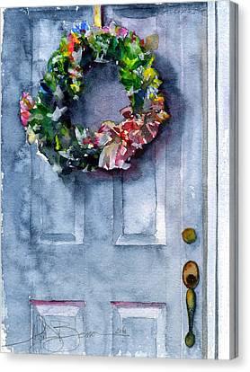 Door Wreath Canvas Print by John D Benson