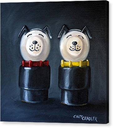 Double Dog Dare Canvas Print by Cindy Cradler