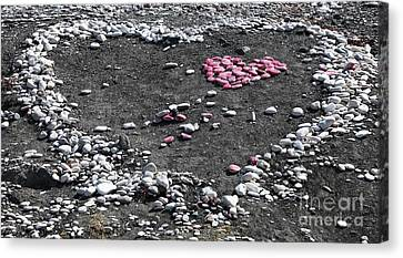 Double Heart On The Beach Canvas Print by John Rizzuto