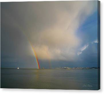 Double Rainbow Canvas Print by Sabine Stetson