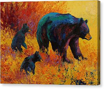 Double Trouble - Black Bear Family Canvas Print by Marion Rose