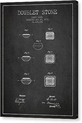 Doublet Stone Patent From 1873 - Charcoal Canvas Print by Aged Pixel