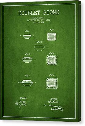 Doublet Stone Patent From 1873 - Green Canvas Print by Aged Pixel