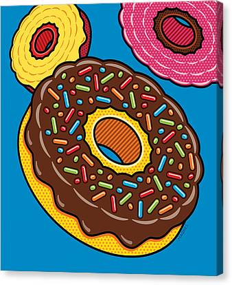 Doughnuts On Blue Canvas Print by Ron Magnes