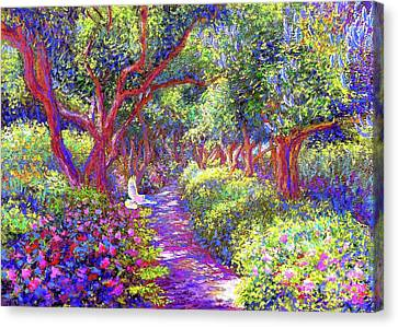 Dove And Healing Garden Canvas Print by Jane Small