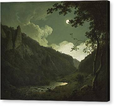 Dovedale By Moonlight Canvas Print by Joseph Wright of Derby