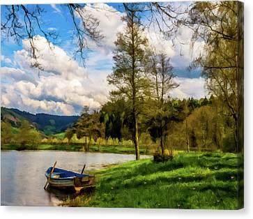 Down By The Lake Photodigitalpainting Canvas Print by David Dehner