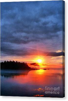 Down East Canvas Print featuring the painting Down East Sunset Maine by Edward Fielding