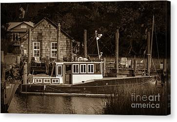 Downeast Style Yacht On Shem Creek Canvas Print by Dale Powell