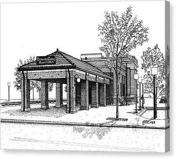 Downers Grove Main Street Train Station Canvas Print by Mary Palmer