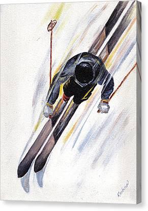Downhill Skier Canvas Print by Robin Wiesneth