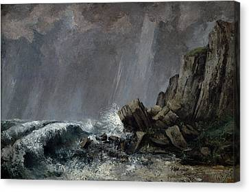 Downpour At Etretat  Canvas Print by Gustave Courbet