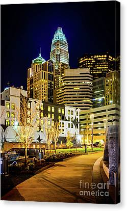 Downtown Charlotte Bearden Park At Night Canvas Print by Paul Velgos