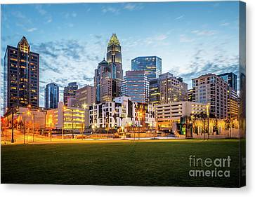 Downtown Charlotte Skyline At Dusk Canvas Print by Paul Velgos