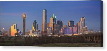 Downtown Dallas Skyline On A December Evening 2 Canvas Print by Rob Greebon