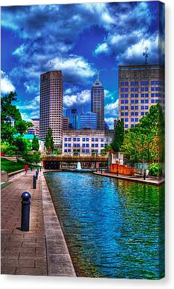 Downtown Indianapolis Canal Canvas Print by David Haskett