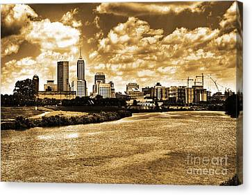 Downtown Indianapolis Skyline Dark Toned Canvas Print by David Haskett