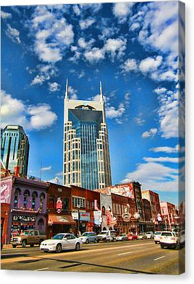 Downtown Nashville Blue Sky Canvas Print by Dan Sproul