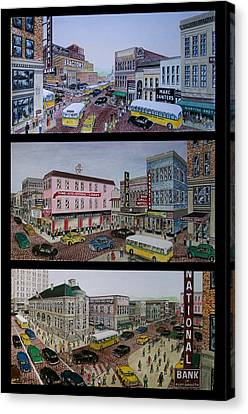 Downtown Portsmouth 1948 Canvas Print by Frank Hunter
