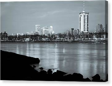 Downtown Tulsa Oklahoma - University Tower View - Black And White Canvas Print by Gregory Ballos