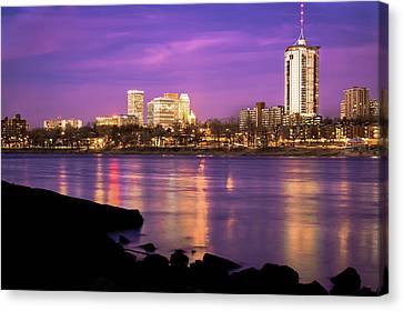 Downtown Tulsa Oklahoma - University Tower View - Purple Skies Canvas Print by Gregory Ballos