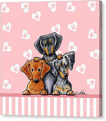 Doxie Trio Canvas Print by Kim Niles