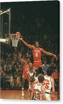 Dr. J Finger Roll Canvas Print by David Warrington