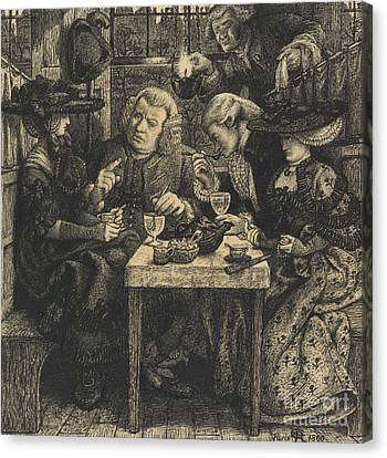 Dr Johnson At The Mitre Canvas Print by Dante Gabriel Charles Rossetti