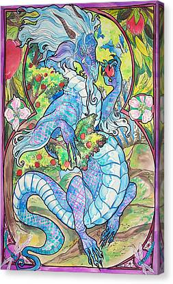 Dragon Apples Canvas Print by Jenn Cunningham
