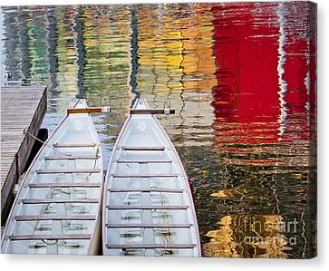 Dragon Boats In Evening Light Canvas Print by Chris Dutton