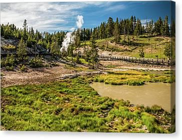 Dragon Geyser At Yellowstone Canvas Print by Hyuntae Kim