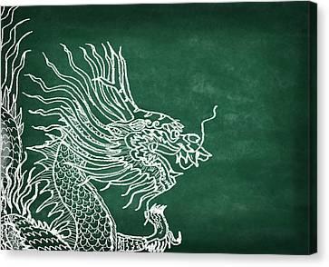Dragon On Chalkboard Canvas Print by Setsiri Silapasuwanchai