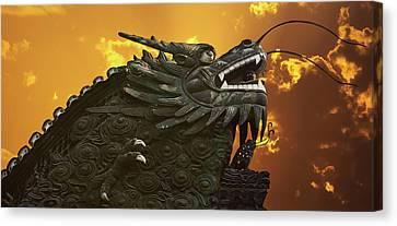 Dragon Wall - Yu Garden Shanghai Canvas Print by Christine Till