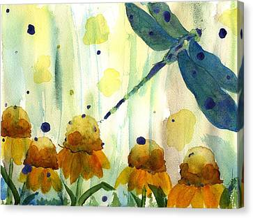 Dragonfly In The Wildflowers Canvas Print by Dawn Derman