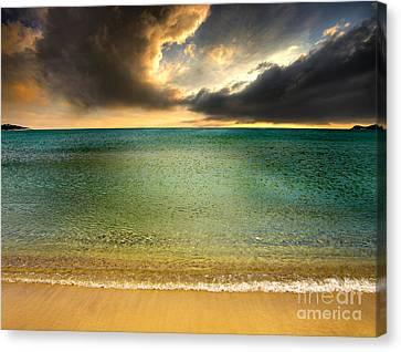 Drama At The Beach Canvas Print by Meirion Matthias