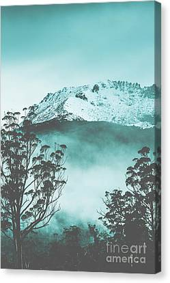 Dramatic Dark Blue Mountain With Snow And Fog Canvas Print by Jorgo Photography - Wall Art Gallery