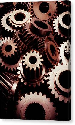 Dramatic Light On Gears Canvas Print by Garry Gay