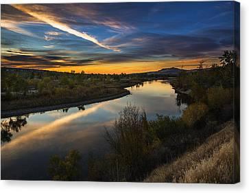 Dramatic Sunset Over Boise River Boise Idaho Canvas Print by Vishwanath Bhat