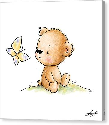 Drawing Of Cute Teddy Bear With Butterfly Canvas Print by Anna Abramska
