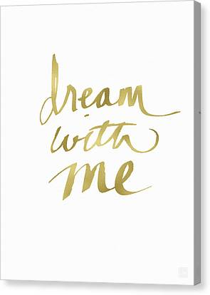 Dream With Me Gold- Art By Linda Woods Canvas Print by Linda Woods