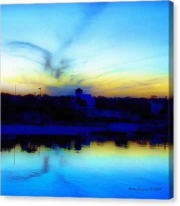 Dreamscape Blue Water Sunset  Canvas Print by Nada Frazier
