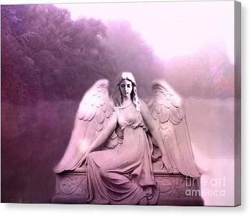 Dreamy Ethereal Pink Fantasy Peaceful Angel In Nature Canvas Print by Kathy Fornal