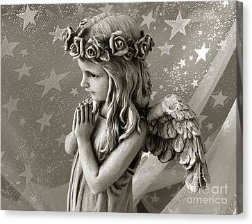 Dreamy Little Girl Angel With Praying Hands  Canvas Print by Kathy Fornal