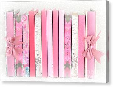 Dreamy Romantic Pink Books Collection - Shabby Chic Cottage Baby Nursery Pastel Pink Books Canvas Print by Kathy Fornal