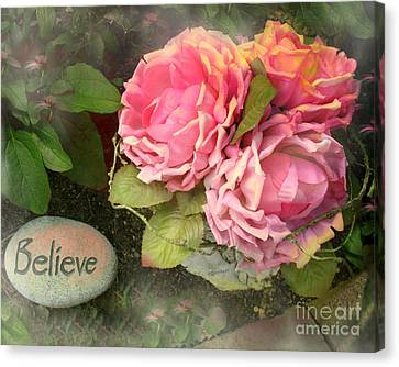 Dreamy Shabby Chic Cabbage Pink Roses Inspirational Art - Believe Canvas Print by Kathy Fornal