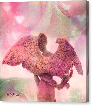 Dreamy Whimsical Pink Angel Wings With Hearts Canvas Print by Kathy Fornal