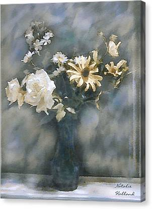 Dreamy White Roses Canvas Print by Natalie Holland